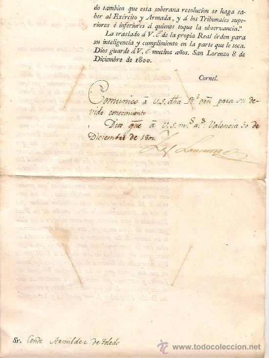 Militaria: ORDEN MILITAR CON FECHA 30 DE DICIEMBRE DEL AÑO 1800 - Foto 2 - 38182320
