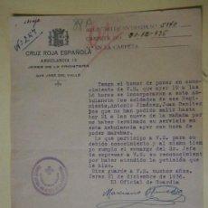 Militaria: DOCUMENTO TAMAÑO CUARTILLA, CRUZ ROJA ESPAÑOLA, AMBULANCIA 12. 1936. Lote 38602421