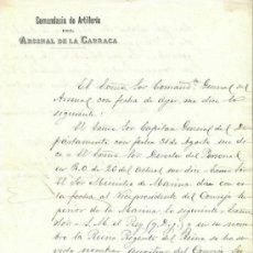 Militaria: NOMBRAMIENTO DE MARINA - COMANDANCIA DE ARTILLERÍA DEL ARSENAL DE LA CARRACA - CÁDIZ - 1892. Lote 38699301