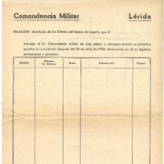 Militaria: GUERRA CIVIL. IMPRESO DE LA COMANDANCIA MILITAR DE LLEIDA,ENTREGA DE BILLETES BANCO DE ESPAÑA. 1938. Lote 38743877