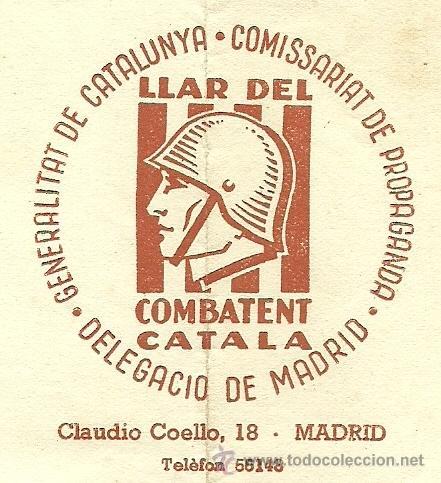 (XJ-167)LOTE DE CORRESPONDENCIA LLAR DEL COMBATENT CATALA DELEGACIO DE MADRID-GUERRA CIVIL (Militar - Propaganda y Documentos)