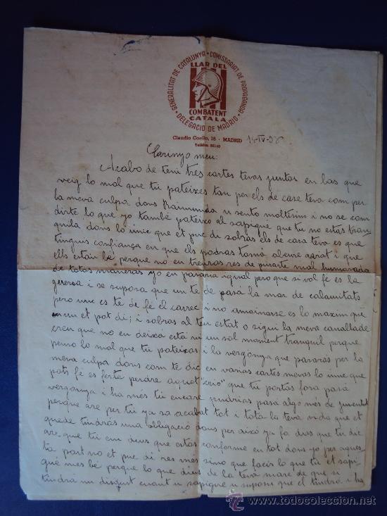 Militaria: (XJ-167)LOTE DE CORRESPONDENCIA LLAR DEL COMBATENT CATALA DELEGACIO DE MADRID-GUERRA CIVIL - Foto 7 - 39001699