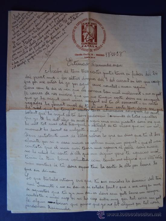 Militaria: (XJ-167)LOTE DE CORRESPONDENCIA LLAR DEL COMBATENT CATALA DELEGACIO DE MADRID-GUERRA CIVIL - Foto 9 - 39001699