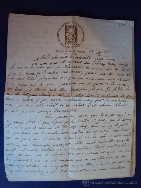 Militaria: (XJ-167)LOTE DE CORRESPONDENCIA LLAR DEL COMBATENT CATALA DELEGACIO DE MADRID-GUERRA CIVIL - Foto 19 - 39001699