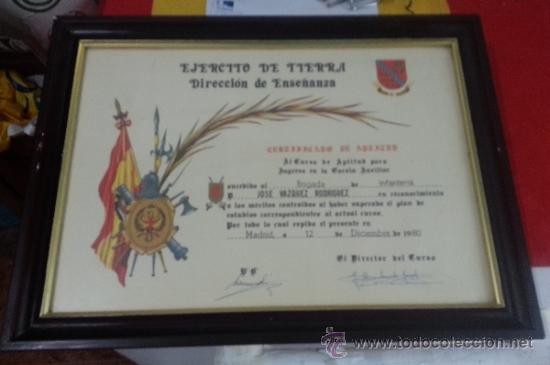 DIPLOMA O CERTIFICADO DE APTITUD DE UN BRIGADA DE INFANTERIA (Militar - Propaganda y Documentos)