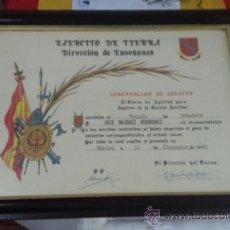 Militaria: DIPLOMA O CERTIFICADO DE APTITUD DE UN BRIGADA DE INFANTERIA. Lote 155984929