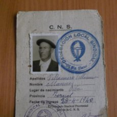Militaria: 1940, CARNET DEL SINDICATO VERTICAL.. Lote 39775812