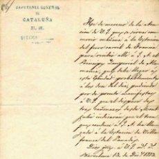 Militaria: CARTA OLOGRAFA DEL CAPITAN GENERAL DE CATALUÑA,JOSÉ LUIS RIQUELME. 13 DIC. 1883. Lote 57076833