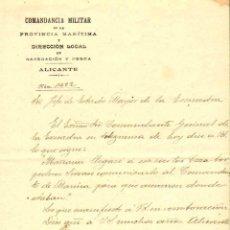 Militaria: COMANDANCIA MILITAR DE ALICANTE. 19/03/1912. TEXTO AUTOGRAFIADO TELEGRAMA COMANDANTE GENERAL ARMADA. Lote 40334784