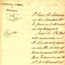 Militaria - 1864.CARTA AUTÓGRAFA DEL CAPITAN GENERAL GRANADA,RAFAEL MAYALDE, AL GOBERNADOR MILITAR DE MELILLA - 40387337
