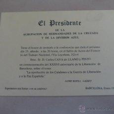 Militaria: PAPEL ORIGINAL DE BARCELONA DE LA DIVISION AZUL, 1975. Lote 40425038