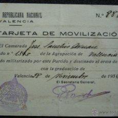 Militaria: (JX-1205)CARNET,TARJETA DE MOVILIZACION DE UNION REPUBLICANA NACIONAL,GUERRA CIVIL. Lote 40507775