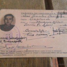 Militaria: TARJETA DE IDENTIDAD CAPITAN DE INTENDENCIA MILITAR 1944. Lote 41132354