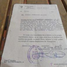 Militaria: CAPITANIA GENERAL DE LA SEGUNDA REGION MILITAR CONCEDE PASAPORTE AL COMANDANTE. Lote 41134285