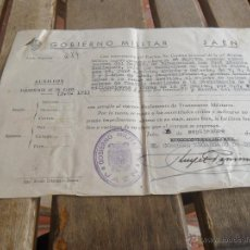 Militaria: GOBIERNO MILITAR JAEN CONCEDE PASAPORTE A FAMILIA CAPITAN 1950. Lote 41134371