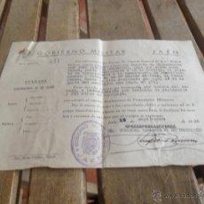 Militaria: GOBIERNO MILITAR JAEN CONCEDE PASAPORTE A CAPITAN 1950. Lote 41134413