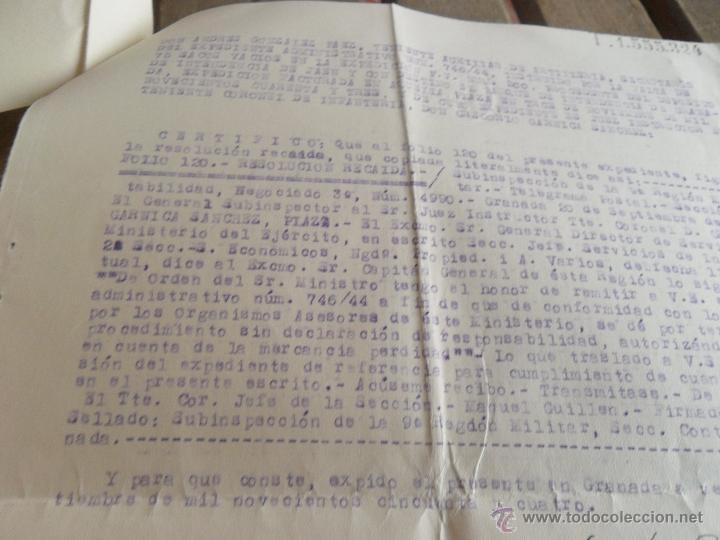 Militaria: JUZGADOS DE EXPEDIENTES JUEZ TENIENTE CORONEL RESOLUCION DEVOLUCION PAGADURIAS FALTA 75 SACOS VACIOS - Foto 3 - 41134756