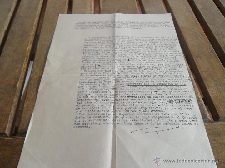PLIEGO DE DESCARGO QUE FORMULA CAPITAN POR LA FALTA DE 75 SACOS VACIOS (Militar - Propaganda y Documentos)