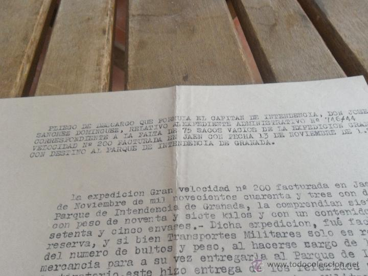 Militaria: PLIEGO DE DESCARGO QUE FORMULA CAPITAN POR LA FALTA DE 75 SACOS VACIOS - Foto 2 - 41134851