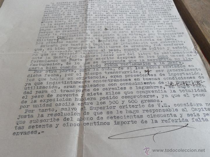 Militaria: PLIEGO DE DESCARGO QUE FORMULA CAPITAN POR LA FALTA DE 75 SACOS VACIOS - Foto 3 - 41134851