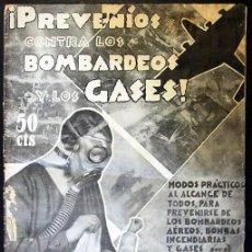 Militaria: PREVENÍOS CONTRA LOS BOMBARDEOS Y LOS GASES - BARCELONA, 1936. Lote 41203630