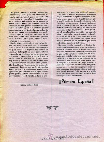 Militaria: DOCUMENTO POLITICO PARTIDO REPUBLICANO , COMITE DE MURCIA REPUBLICA 1933, ORIGINAL , D3 - Foto 2 - 41437817