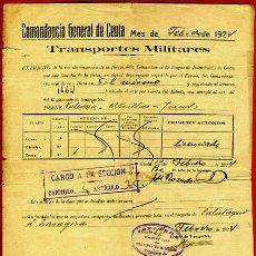 Militaria: DOCUMENTO MILITAR , COMANDANCIA DE CEUTA 1924, TRANSPORTES MILITARES , ORIGINAL , D3. Lote 41437847