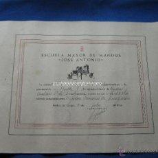 Militaria: DIPLOMA ESCUELA MAYOR DE MANDOS - JOSE ANTONIO - FALANGE ESPAÑOLA - CURSO DE REGIDORA Y AUXILIARES. Lote 41440789