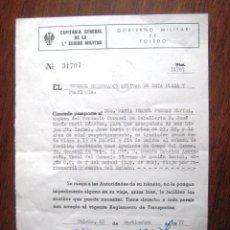 Militaria: PASAPORTE DESPLAZAMIENTO PARA LA FAMILIA DE UN TENIENTE CORONEL. 1977. .. Lote 41466725