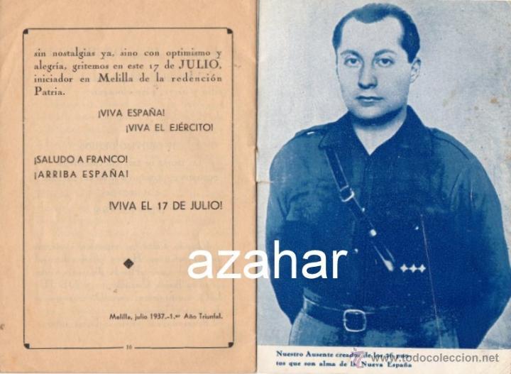 Militaria: 17 DE JULIO DE 1936 EN MELILLA, FALANGE ESPAÑOLA DE LAS JONS,16 PAGINAS - Foto 3 - 41473382