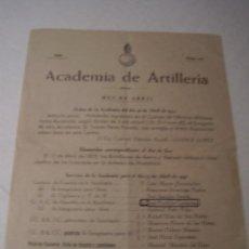 Militaria: DOCUMENTO ACADEMIA ARTILLERIA DE SEGOVIA , 1951. ORDEN DEL DIA.. Lote 41517223
