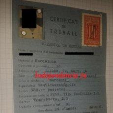 Militaria: CERTIFICAT DE TREBALL DE LA GENERALITAT DE CATALUNYA, MATERIAL DE GUERRA, REPÚBLICA. Lote 41542410