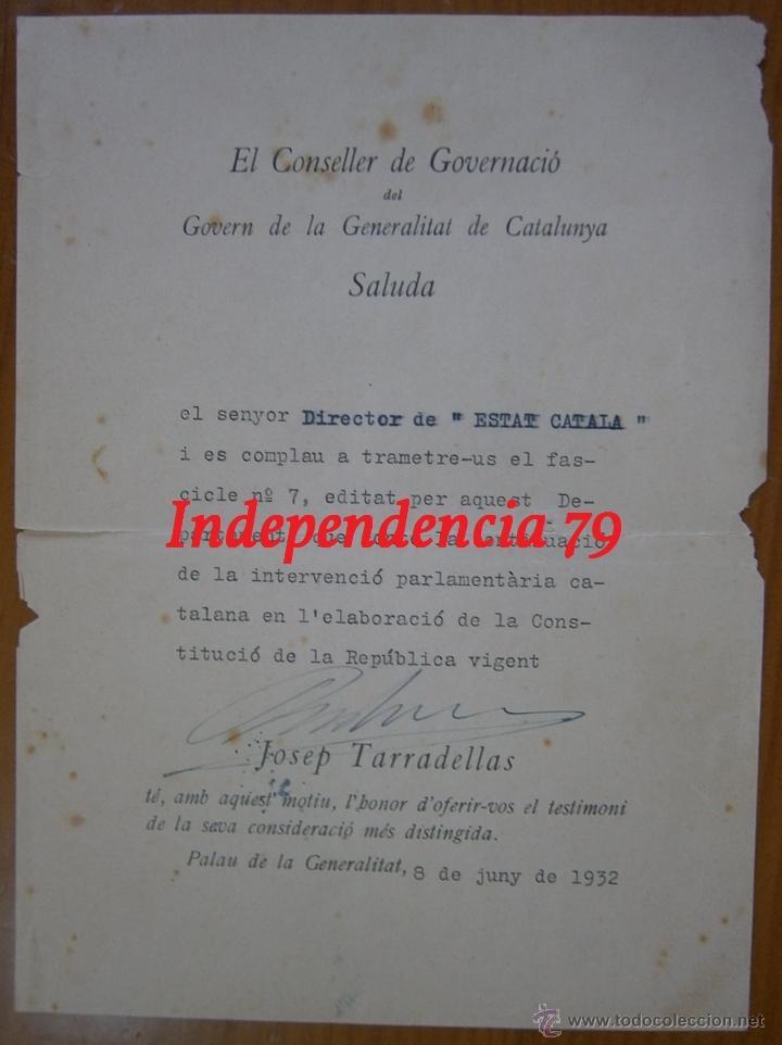 DOCUMENTO TAMAÑO CUARTILLA CON FIRMA DE JOSEP TARRADELLES, 1932 (Militar - Propaganda y Documentos)