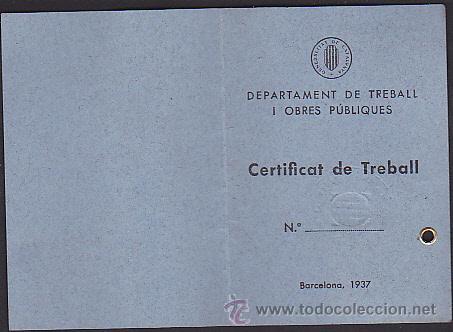 CERTIFICADO DE TRABAJO 21 SEPTIEMBRE 1938 (Militar - Propaganda y Documentos)