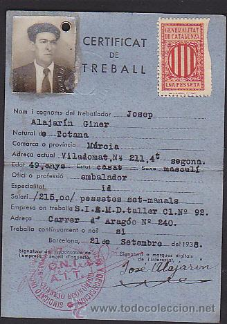Militaria: CERTIFICADO DE TRABAJO 21 SEPTIEMBRE 1938 - Foto 2 - 41688178