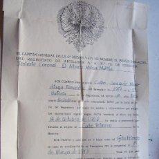 Militaria: ASCENSO A CABO 1º. RGTO. ARTILLERIA ANTIAEREA Nº 72 . SEVILLA 1953.. Lote 41726837