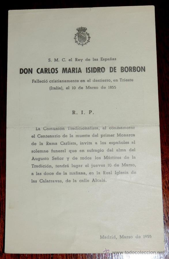 Militaria: CARLISMO. DON CARLOS V DE ESPAÑA. DON CARLOS MARÍA ISIDRO DE BORBÓN (1788-1855) SU MAGESTAD CATÓLICA - Foto 2 - 42192348