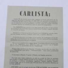 Militaria: ANTIGUA HOJA VOLANDERA CARLISTA, O PANFLETO, CARLOS VIII, CARLISMO, REQUETE. MIDE 21 X 15,5 CMS.. Lote 42258169