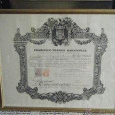 Militaria: COMENDADOR ORDEN MÉRITO CIVIL, ENMARCADO, FIRMA DE FRANCO (ESTAMPILLADA). Lote 42354735