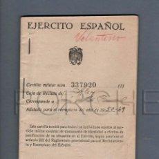 Militaria: CARTILLA MILITAR Y HOJA MOVI. REGIMEN ANT - CUÑOS REG.INF. VIZCAYA 21 Y COMANDANCIA MILITAR ALCOY.. Lote 42364924