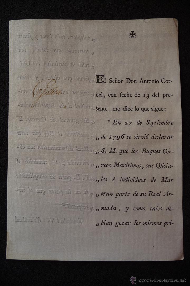 (JX-1333)DOCUMENTO D.ANTONIO CORNEL,MADRID 1800,FIRMADO IGNACIO LANCASTER,PLUMA SR.CONDE ARMILDEZ DE (Militar - Propaganda y Documentos)