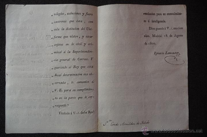 Militaria: (JX-1333)DOCUMENTO D.ANTONIO CORNEL,MADRID 1800,FIRMADO IGNACIO LANCASTER,PLUMA SR.CONDE ARMILDEZ DE - Foto 2 - 42455491