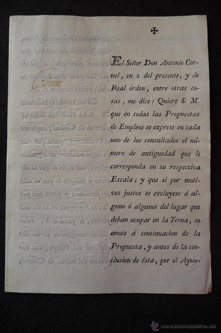 (JX-1334)DOCUMENTO D.ANTONIO CORNEL,MADRID 1800,FIRMADO IGNACIO LANCASTER (Militar - Propaganda y Documentos)