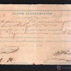 Militaria: SPANISH AMERICAN WAR. CUBA. AUXILIO MUNICIPAL DE GUERRA. MUY RARO. 1876. Lote 42518861