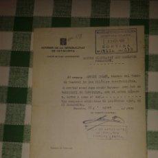 Militaria: DOCUMENTO TAMAÑO CUARTILLA, CON MEMBRETE GOVERN DE LA GENERALITAT DE CATALUNYA, REPÚBLICA. Lote 42669480