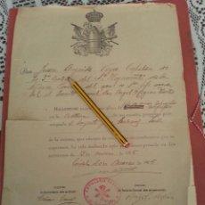 Militaria: DIPLOMA SARGENTO JEFE SERVICIO TELEGRAFICO, 4º REGIMIENTO DE ARTILLERIA PESADA,12-3-1925. Lote 42700032