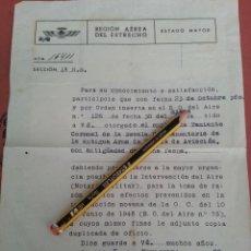 Militaria: DIPLOMA OFICIO ASCENSO A TENIENTE CORONEL, REGIMIENTO DE AVIACION EJERCITO DEL AIRE,5-11-1952. Lote 42700338
