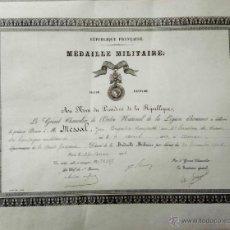 Militaria: CONCESION MEDALLA MILITAR INDIVIDUAL,LEGION DE HONOR,FRANCIA, AÑO 1905 TROMPETA ESCUADRON DE TREN. Lote 42905252