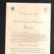 Militaria: SALUDA. JEFE PROVINCIAL MOVIMIENTO. CADIZ. CUESTACION ANUAL. 1958. PRO-CAMPAMENTO VERANO. Lote 43091632