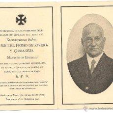 Militaria: RECORDATORIO DE MIGUEL PRIMO DE RIVERA EN EL UNDÉCIMO ANIV. DEL FALLECIMIENTO EN EL 16/3/1930. Lote 43163832